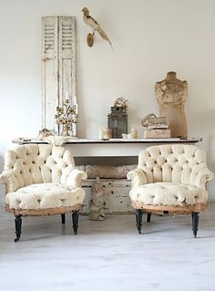 This Ivy House-old chairs, dressform, shutter