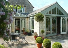 004 Garden Room and a Conservatory on Traditional Cotswold stone house Cottage Exterior, Dream House Exterior, Orangery Roof, Garden Room Extensions, Conservatory Garden, Roof Lantern, Garden Buildings, Home And Garden, Dream Garden