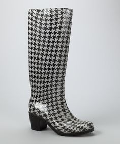 Take a look at this Black & White Houndstooth Rain Boot - Women on zulily today!