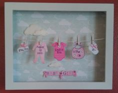 Baby Stats Clothesline Shadow Box with Fuzzy Cloud Background Scrabble Frame, Scrabble Art, Baby Crafts, Diy And Crafts, Paper Crafts, Baby Frame, Diy Gifts, Handmade Gifts, Shadow Box Frames
