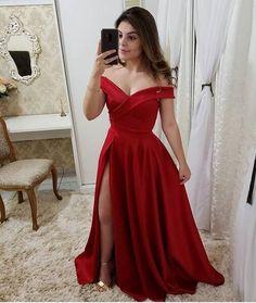 Vestidos De Gala Sexy Red V-Neck Side Slit Prom Dresses Long Elegant Off the Shoulder A-Line Formal Party Dress Red Satin Prom Dress, Fancy Prom Dresses, A Line Prom Dresses, Grad Dresses, Short Dresses, Formal Dresses, Pink Satin, Wedding Dresses, Sexy Evening Dress