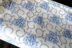 Vintage French cotton fabric 1930s with Blue Wild roses very retro new condition