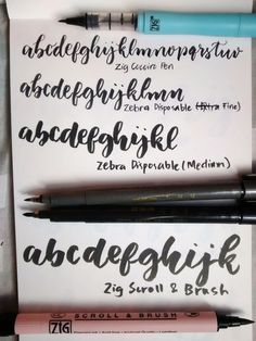 Samples of different brush pens