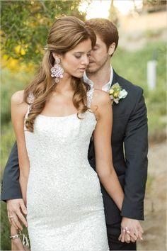 mr and mrs | wedding photography | curled bridal hair | sparkly dress | #weddingchicks