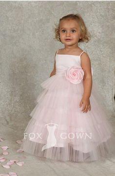 pink spaghetti straps floor length layered skirt rose flower girl dress