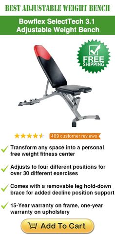 Bowflex SelectTech 3.1 Adjustable Bench See more: http://www.weightbenchguides.com/ Incorporating a fully adjustable design, this bench is perfectly engineered to transform any living space to a personal weight fitness center. It incorporates a boxed upholstery with excellent padding that is stitched together for maximum strength and comfort. The padding is covered in vinyl material that can be wiped for easy cleanup.
