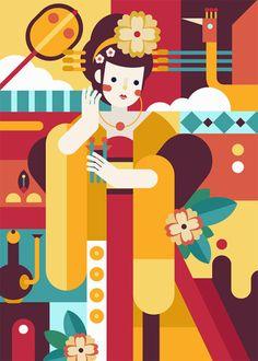 Jaye Kang Graphic Design Illustration, Digital Illustration, Illustrator Tutorials, Grafik Design, Geometric Art, Vector Art, Pop Art, Character Design, Drawings
