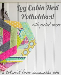 Sewing For Beginners Log Cabin Hexi Potholders. a tutorial with partial seams — SewCanShe Diy Sewing Projects, Sewing Projects For Beginners, Sewing Tutorials, Sewing Hacks, Sewing Crafts, Sewing Tips, Sewing Ideas, Sewing Blogs, Sewing To Sell