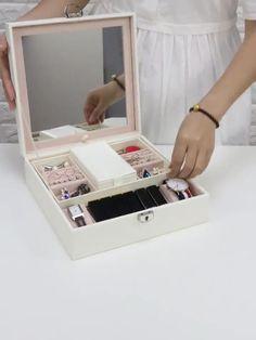 Lockable Jewelry box With Large Mirror Give away mini case Makeup Vanity Box, Makeup Storage Box, Makeup Box Diy, Diy Makeup Organizer Cardboard, Makeup Vanities, Bathroom Vanities, Storage Boxes, Storage Ideas, Cardboard Crafts