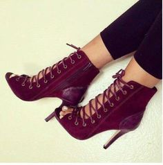 >> Click to Buy << 2017 Spring Summer Women Cut-Outs Sexy Wine Red Suede Leather Lace Up Peep Toe Patchwork Thin High Heel Ankle Boots Trendy Pumps #Affiliate