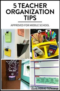 Five great ideas for teacher organization - easy to set up with materials you likely have. Perfect for the middle school classroom! | http://maneuveringthemiddle.com