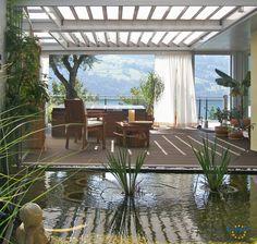 Sie können auch einen Teich mit Pflanzen überdachen.