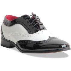 Mens Gentleman Black & White Spectator Wingtip Brogue Gangster Shoes