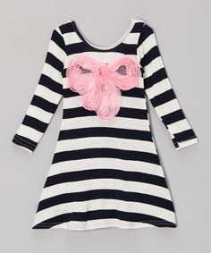 Take a look at this Black & Pink Stripe Bow Dress - Toddler & Girls by Mia Belle Baby on #zulily today!