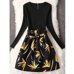 Long Sleeve A Line Leaf Pattern Dress ($18) ❤ liked on Polyvore featuring dresses, a line dress, leaf dress, a line silhouette dress, longsleeve dress and long sleeve a line dress