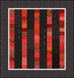 Easy Quilt Pattern: Black and White and Red All Over, I like how this quilt was constructed, great to make with scraps