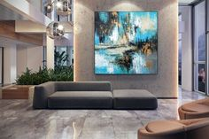 Extra Large Paintings On Canvas Abstract Acrylic Painting image 4 Large Artwork, Large Canvas Art, Abstract Canvas Art, Extra Large Wall Art, Large Painting, Abstract Paintings, Canvas Canvas, Canvas Paintings, Grand Art Mural