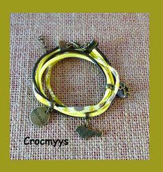 Bracelet liberty daisy sun jaune et sequin gris : Bracelet par crocmyys