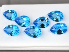 43.35 Carat Matched Set of Pear Cut Electric Blue Topaz