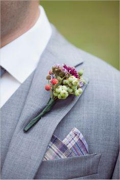 grey groom look with boutonniere #groom #boutonniere #weddingchicks http://www.weddingchicks.com/2014/03/04/take-your-time-wedding/