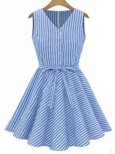 Bowknot narrow waist elegant big hem sleeveless dress