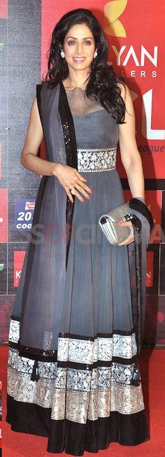 Shridevi Grey Long #Anarkali Salwar Kameez