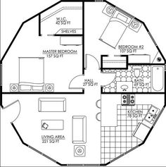 1 Story Camden - 746 Total Square Ft - bedroom & bath combined/rearranged into pantry, laundry/mudroom, bathroom Round House Plans, Small House Plans, House Floor Plans, Casa Octagonal, Octagon House, Yurt Living, Silo House, Dome House, House Drawing
