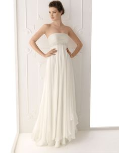 Empire Strapless Sleeveless Zipper Beading Court Wedding Dress at Millybridal.com