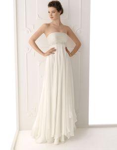 Empire Strapless Sleeveless Zipper Beading Court Wedding Dress at Millybridal.com