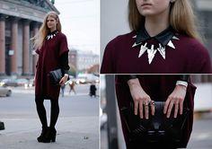 "Oasis Blouse, Gina Tricot Necklace, Monki Knit Dress, Zara Bag //""Stockholm Street"" by Margarita Miu // LOOKBOOK.nu"