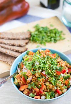 Turkish Lentil Salad. Ready in 7 minutes   #lunch #vegan   hurrythefoodup.com