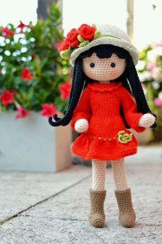 Amigurimi niña, con vestido rojo by AmigurumiLenekye