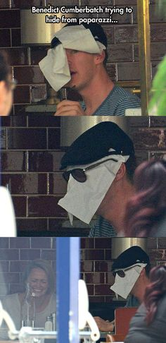 I should not be laughing this hard. You know some actors would wear something different or wear a hoodie and sunglasses to cover their face to get away from them but not Benedict he puts a napkin on his face!! Lol :3