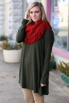 Fuzzy Fleece Tunic {Olive} | The Fair Lady Boutique
