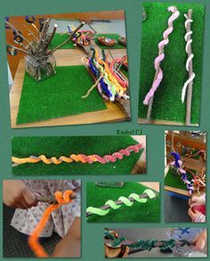 Stick Worms This idea came from My Creative Days. We've wrapped sticks in wool before, but have never done it with pipe-cleaners. Great for fine motor skills! Eyfs Activities, Nursery Activities, Motor Skills Activities, Fine Motor Skills, Activities For Kids, Preschool Ideas, Numbers Preschool, Preschool Education, Daycare Ideas