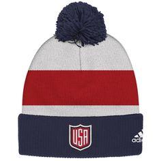 35ad2e7ebf1 Men s US Hockey adidas White 2016 World Cup of Hockey Player Cuffed Pom  Knit Hat