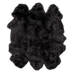 Sheepskin Wool Rug In Black