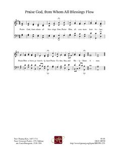 Printable.  Praise God From Whom All Blessings Flow - Hymnary.org