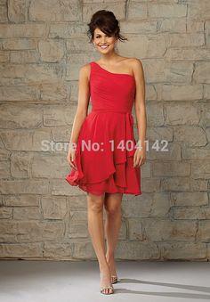 Barato Dama de honra vermelho curto vestidos de um ombro na altura do joelho vestidos de festa com drapeado vestido de madrinha, Compro Qualidade Vestidos de Madrinha diretamente de fornecedores da China:  Novo design curto vermelho da dama de honra vestidos de um ombro na altura do joelho vestidos de