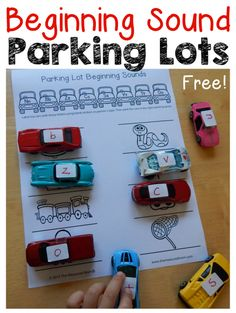 Check out this FREE beginning sounds activity for preschool and kindergarten!  Print one of ten free parking lots and park the cars in the correct spots. My preschooler loves it!