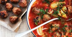 Turn soup from a starter into a hearty main with this tomato, fennel and meatball soup.