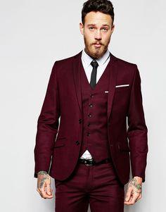 Heart & Dagger Suit Jacket in Birdseye Fabric in Skinny Fit