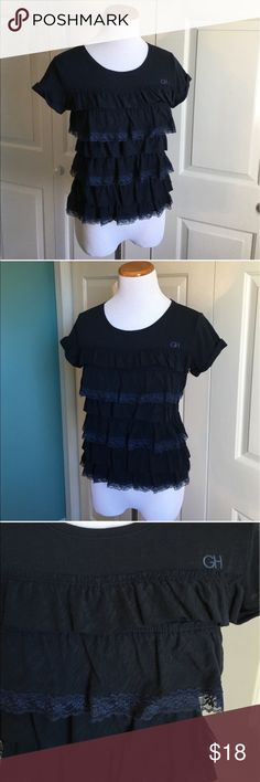 Gilly Hicks Ruffle Tee Dark navy blue t-shirt with Ruffle and Lace details. Perfect condition, and brand new with tags. Size XS, could probably also fit a small IMO. Gilly Hicks Tops Tees - Short Sleeve