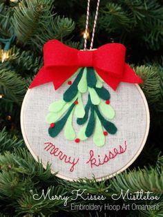 Merry Kisses Mistletoe Hoop Ornament