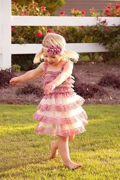 Dusty Rose / Cream Chiffon Lace Dress - Country Weddings - Flower Girl - Three Tiered Ruffle Little Girls Dress Girls Easter Dresses, Girls Christmas Dresses, Girls Pageant Dresses, Girls Summer Outfits, Little Girl Dresses, Holiday Dresses, Summer Clothes, Flower Girls, Flower Girl Dresses