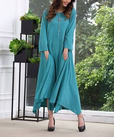 Love this Turquoise Handkerchief Maxi Dress - Plus Too on #zulily! #zulilyfinds
