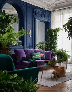 Vintage Blue Living Room Design Ideas You Must Have - Colourful kitchens and rooms - Home Design Style Deco, Home And Deco, Home Interior Design, Colorful Interior Design, Vintage Interior Design, Interior Concept, Interior Livingroom, Home And Living, Dark Living Rooms