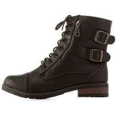 Bamboo Combat Booties with Buckles & Zippers (1.035 CZK) ❤ liked on Polyvore featuring shoes, boots, ankle booties, black, black ankle booties, black buckle booties, short black boots, black lace up booties and ankle boots