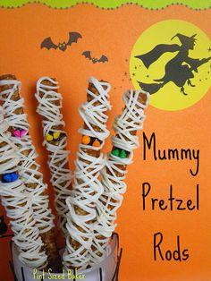 mummy pretzel rods!  Too cute.  Making these tonight :)