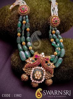 Large Belgium emerald beads drops and 22 carat gold pumpkin shaped round gold balls combination attractive beads long chain with dual peacock pendant Gold Jewellery Design, Bead Jewellery, Beaded Jewelry, Jewelry Rings, Baby Jewelry, Craft Jewelry, Antique Jewellery, Bridal Jewellery, Royal Jewelry